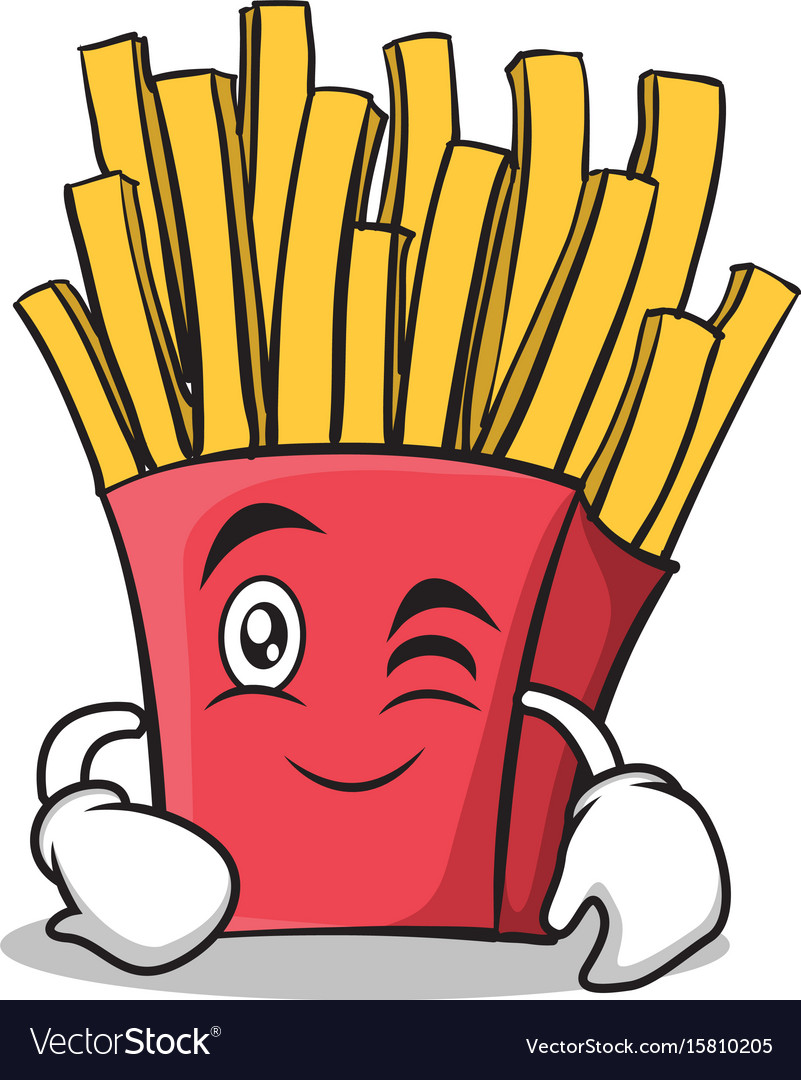 Wink face french fries cartoon character