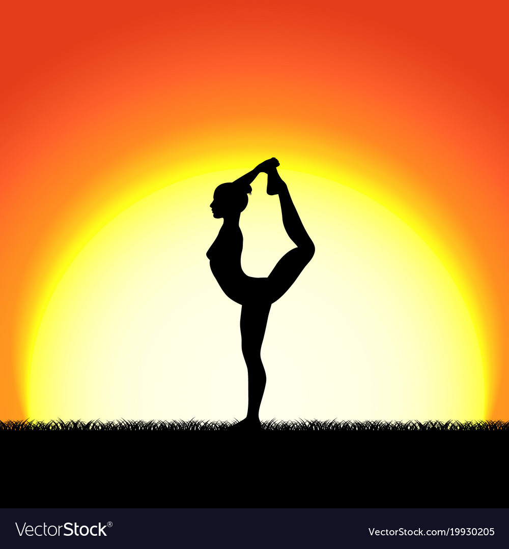 Yoga Dhanurasana Pose Black Silhouette On Sunset Vector Image