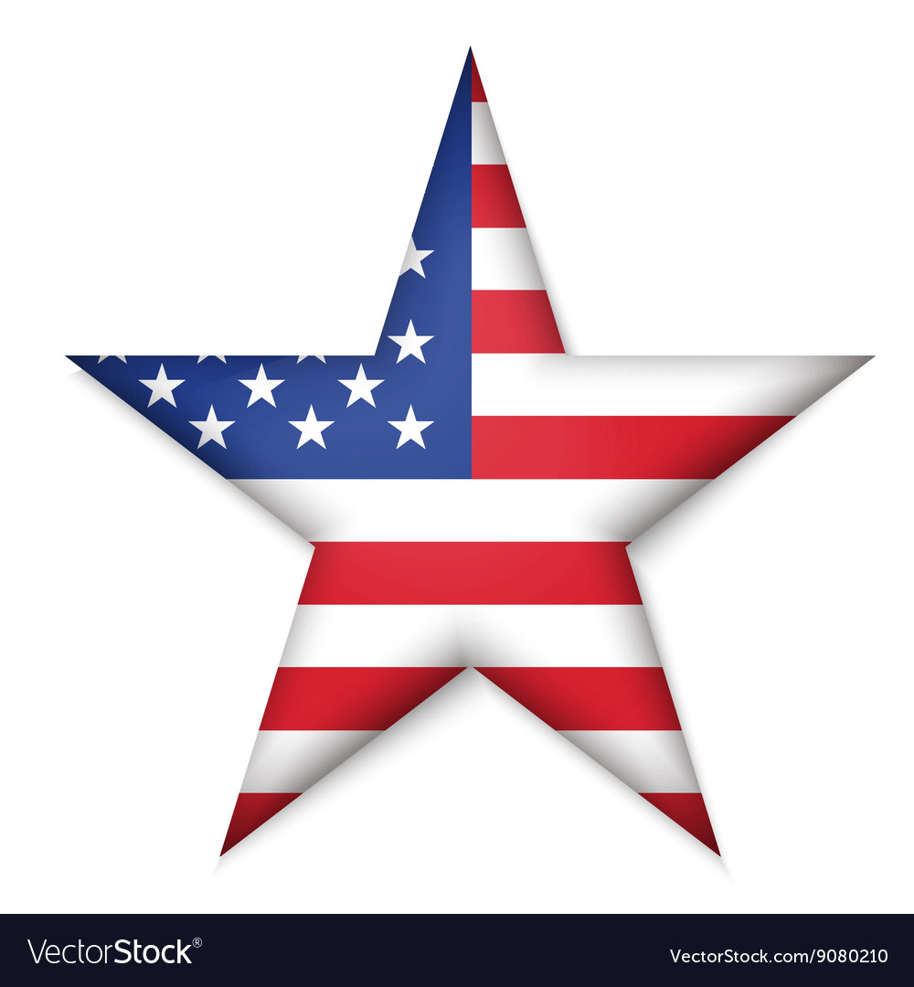 American United States Flag in glossy star button