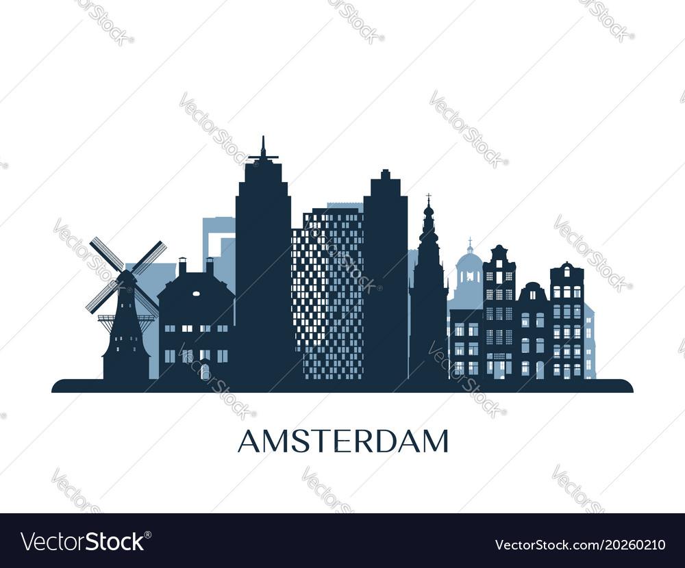Amsterdam skyline monochrome silhouette