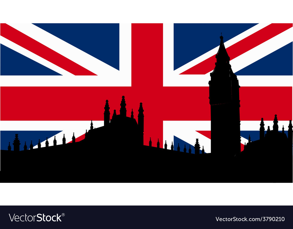 British design with big ben flag