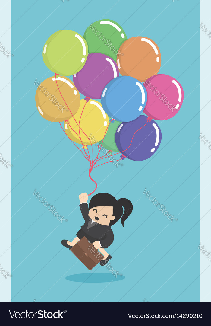 Business woman hold colorful balloons concept of vector image