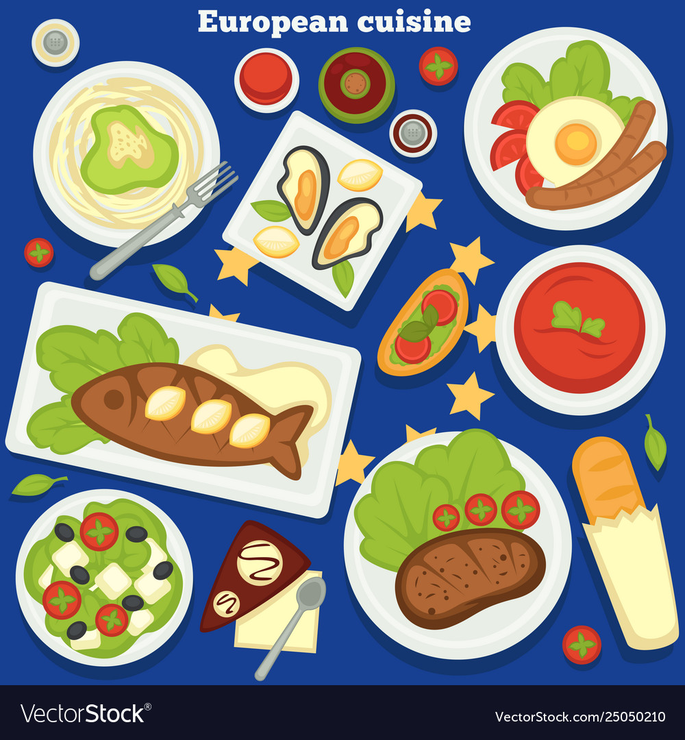 European cuisine dishes and meals desserts food of
