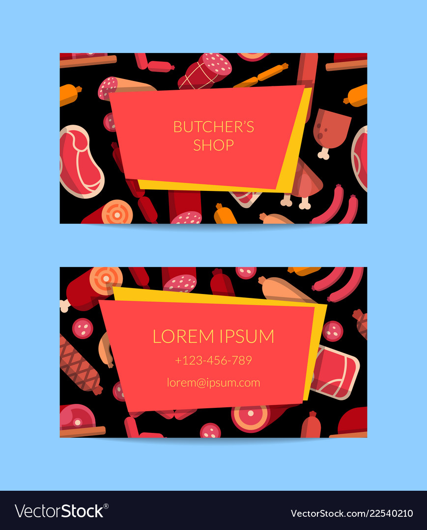 Flat meat and sausages icons business card
