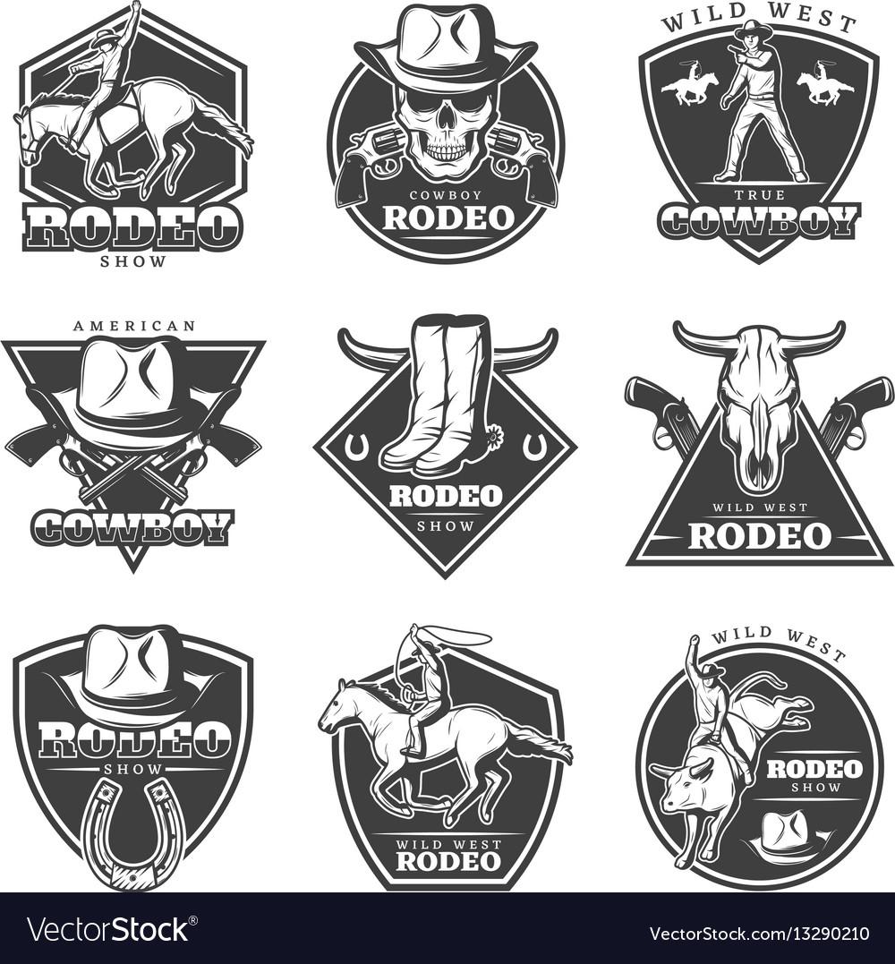 Monochrome rodeo labels set vector image
