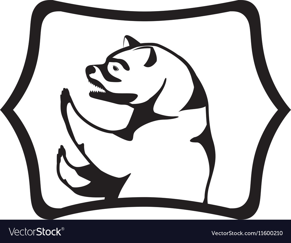 Monochrome silhouette with half body bear in frame