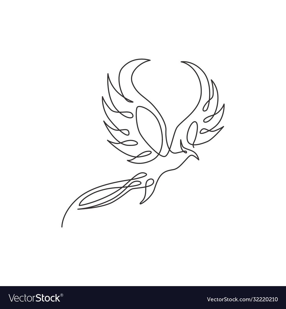 One continuous line drawing elegant phoenix