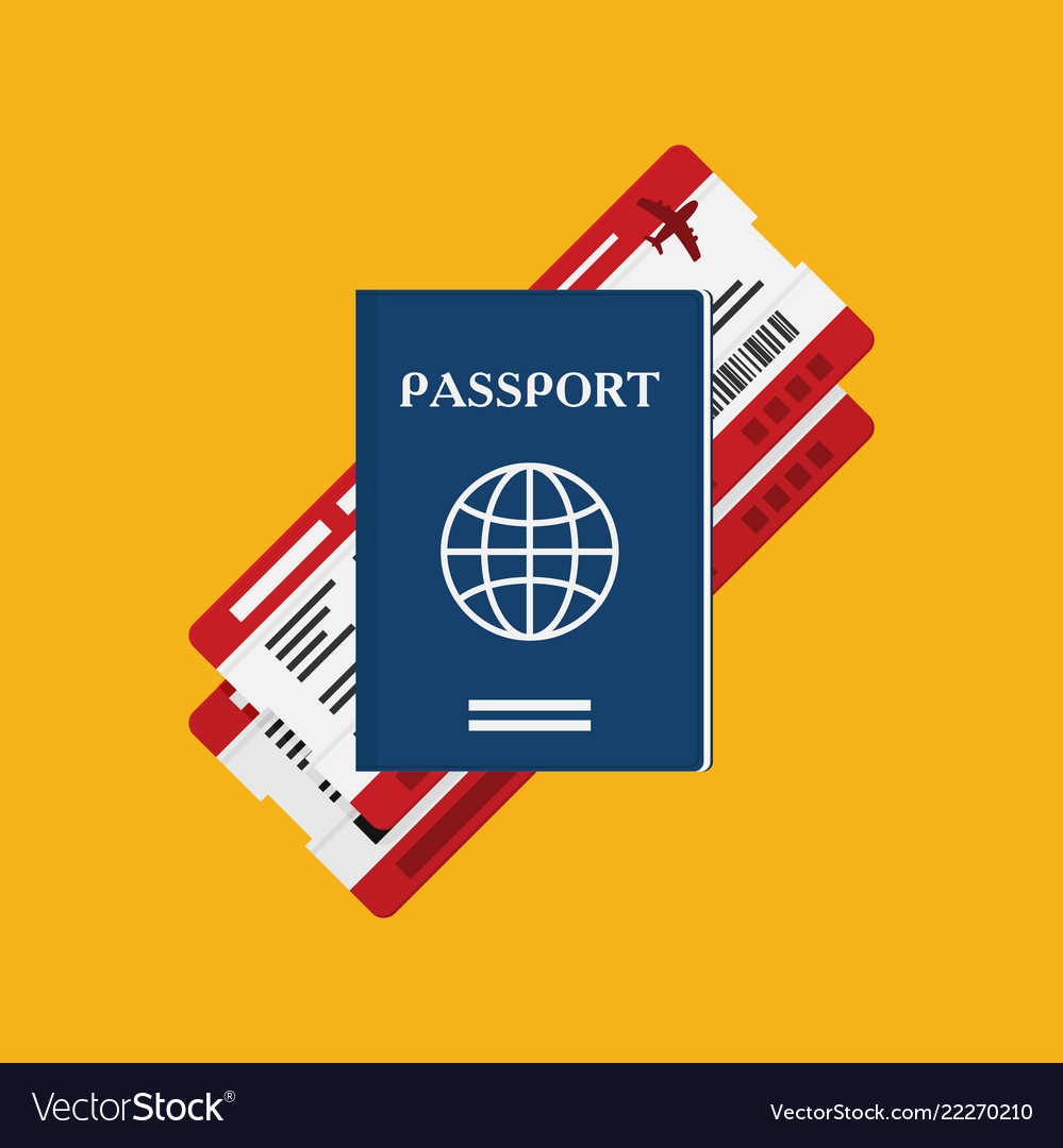 Passport with tickets icon isolated on background