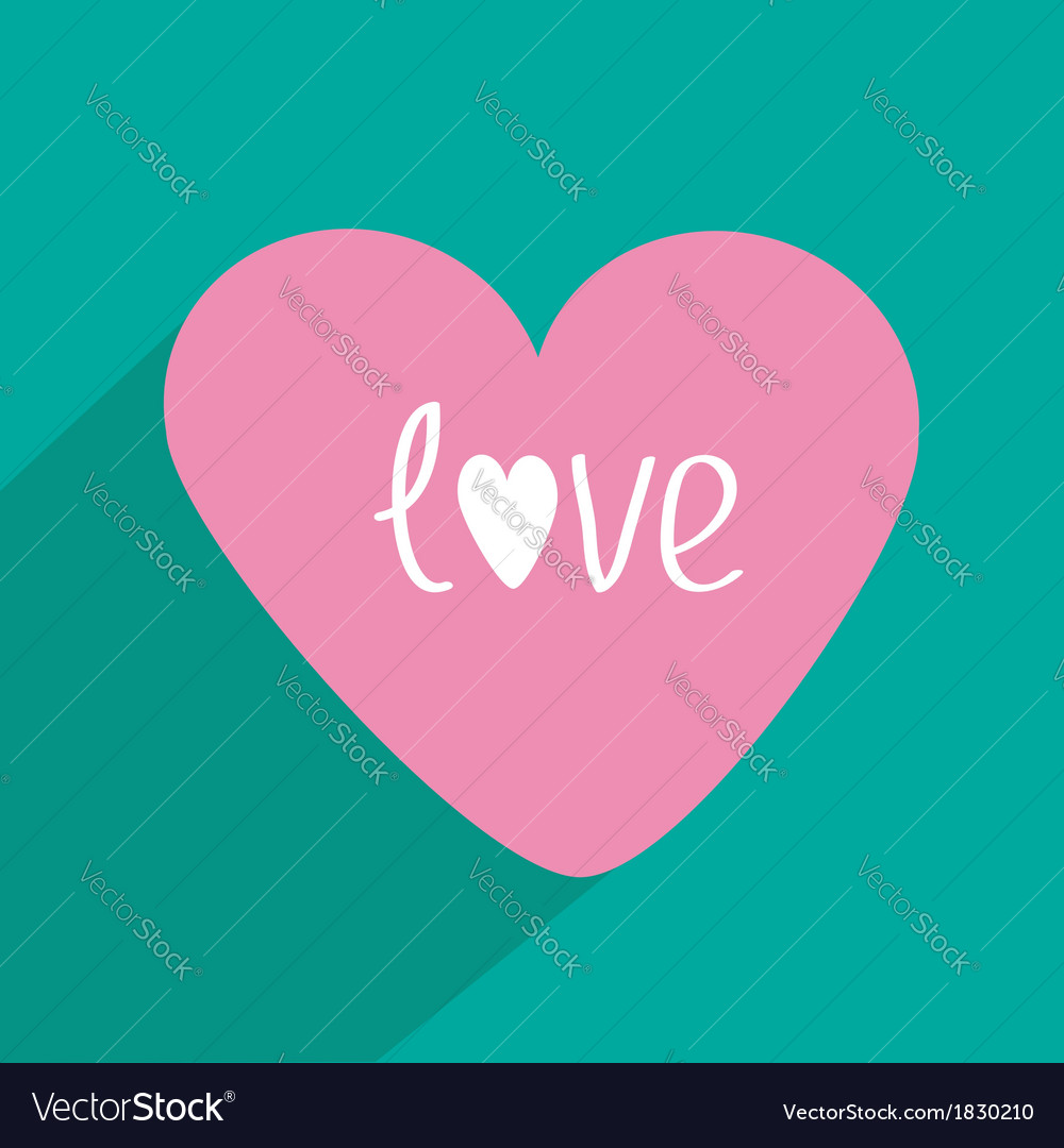 Pink heart with long shadow Flat design Icon