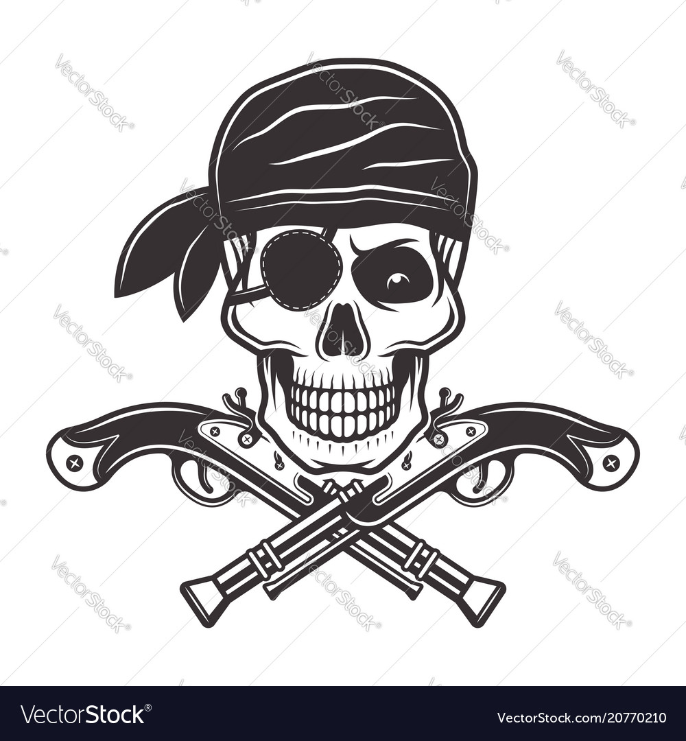 Pirate skull in bandana and two crossed pistols