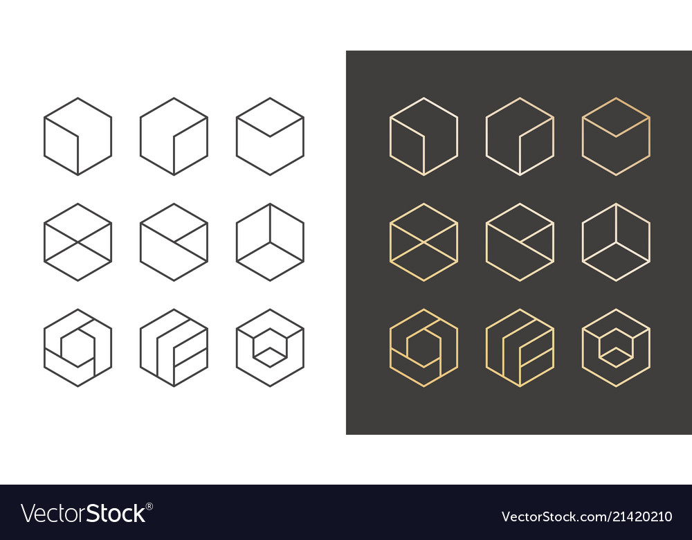 Set 9 icons trendy golden logo linear design