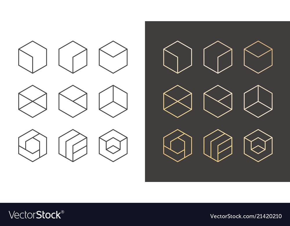 Set of 9 icons trendy golden logo linear design