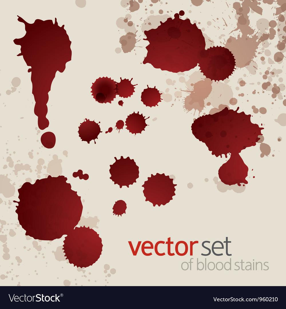 Splattered blood stains set 6 vector image