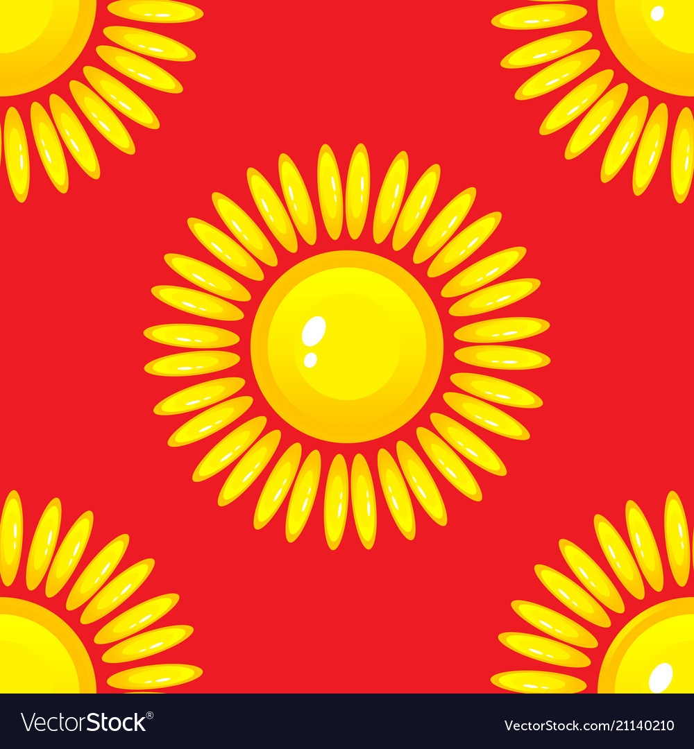 Summer seamless pattern with sun on red background vector image
