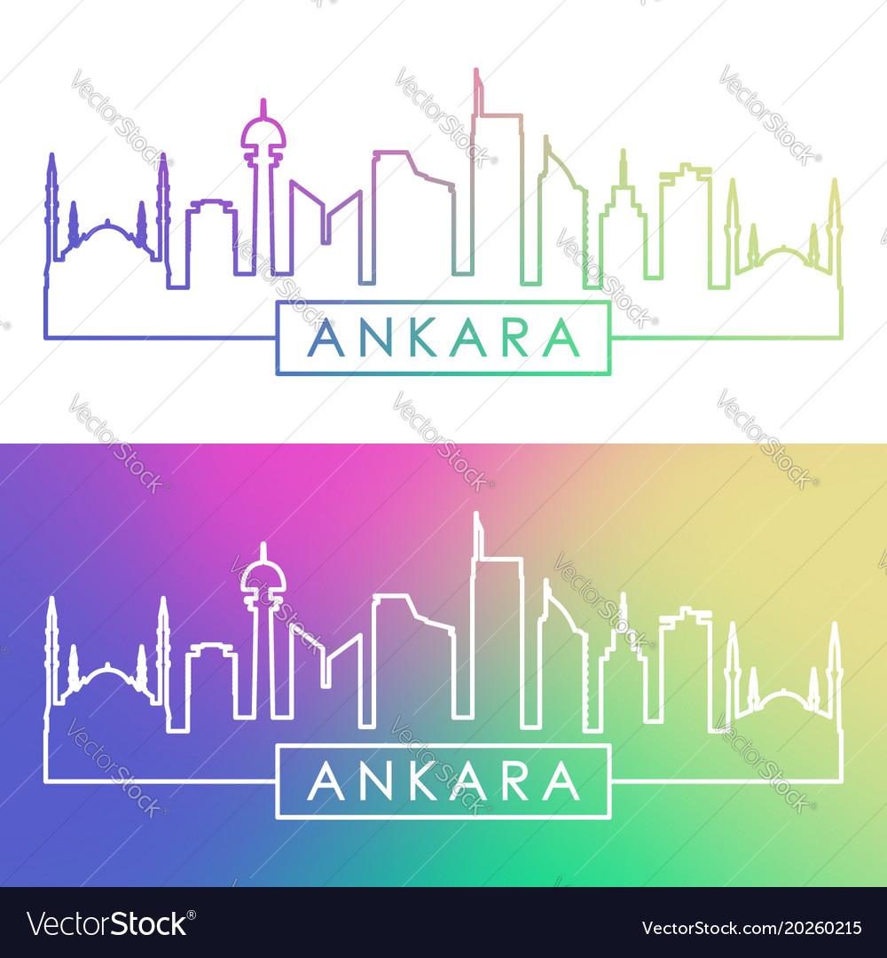 Ankara skyline colorful linear style editable