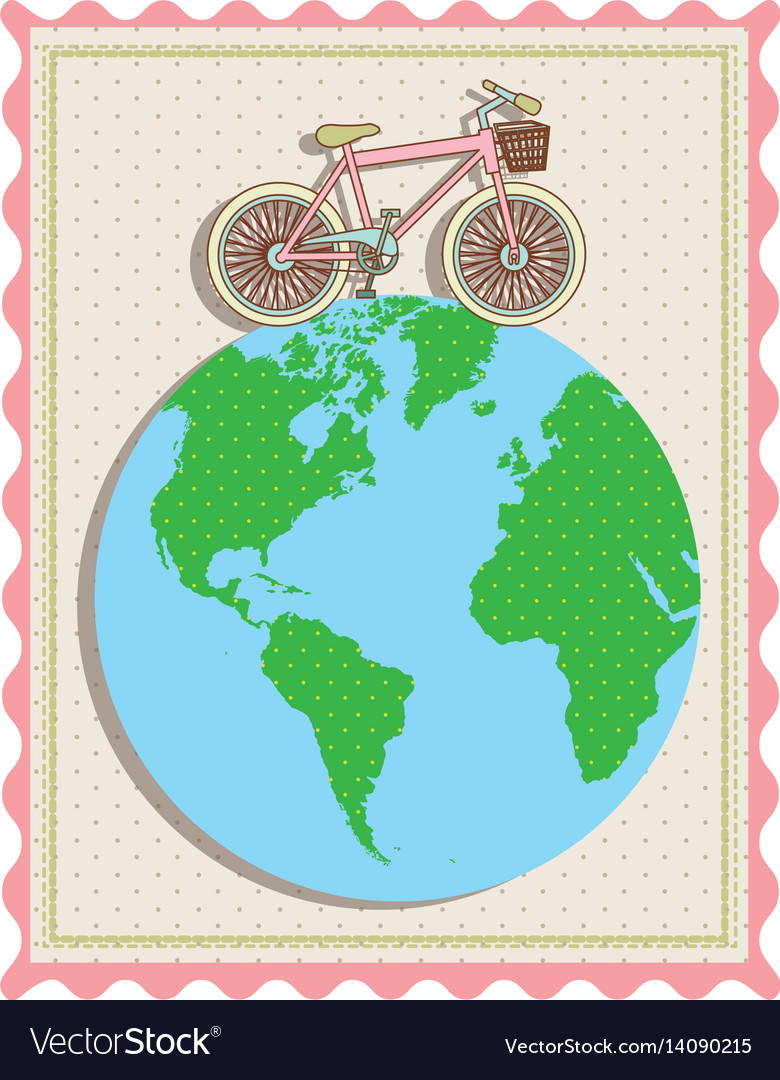 Color pastel frame with bicycle over the world map color pastel frame with bicycle over the world map vector image gumiabroncs Images