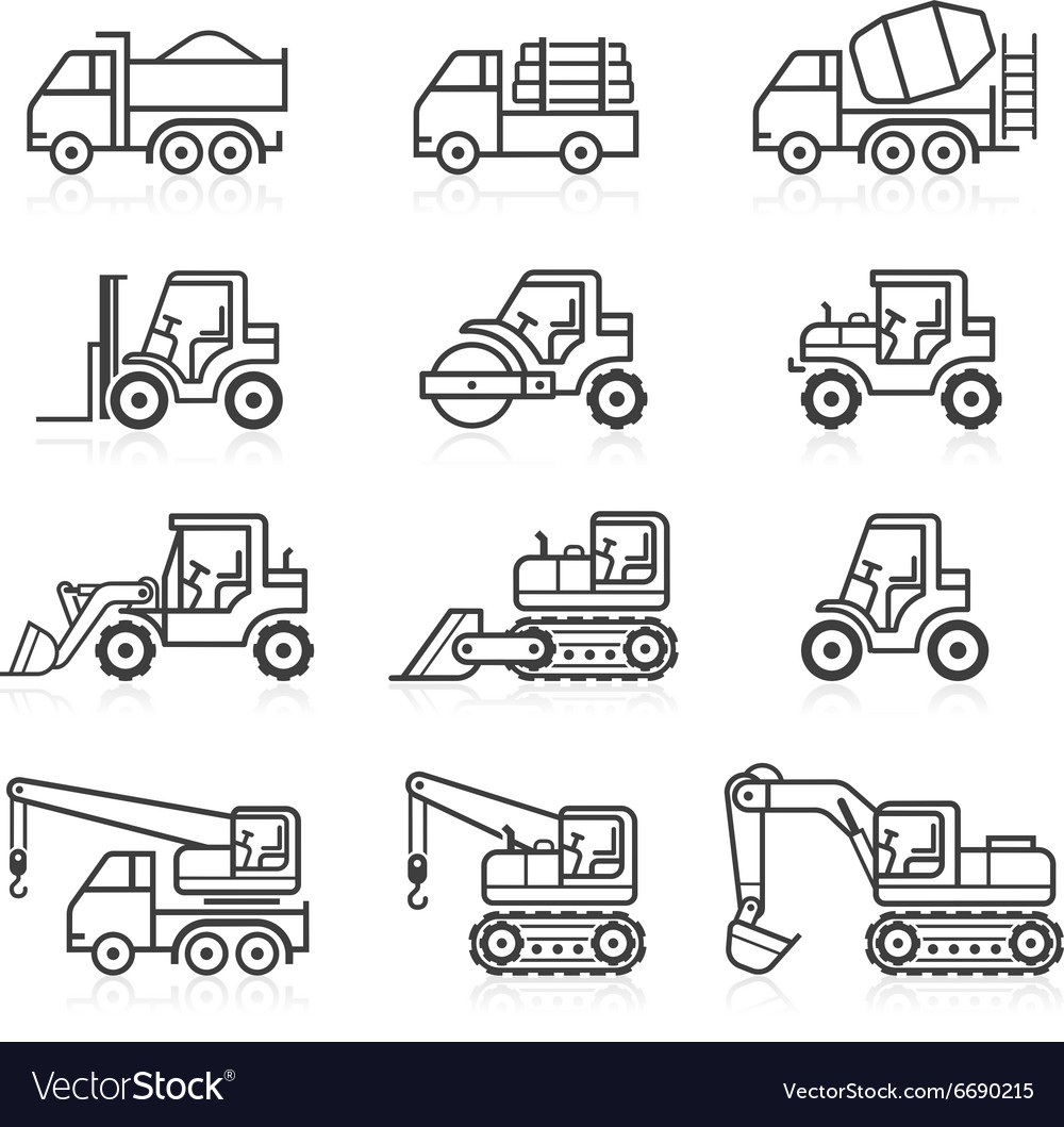Construction truck icon set
