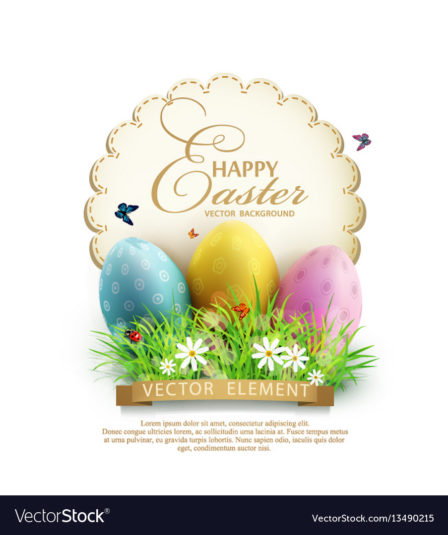 Easter eggs in green grass with white flowers