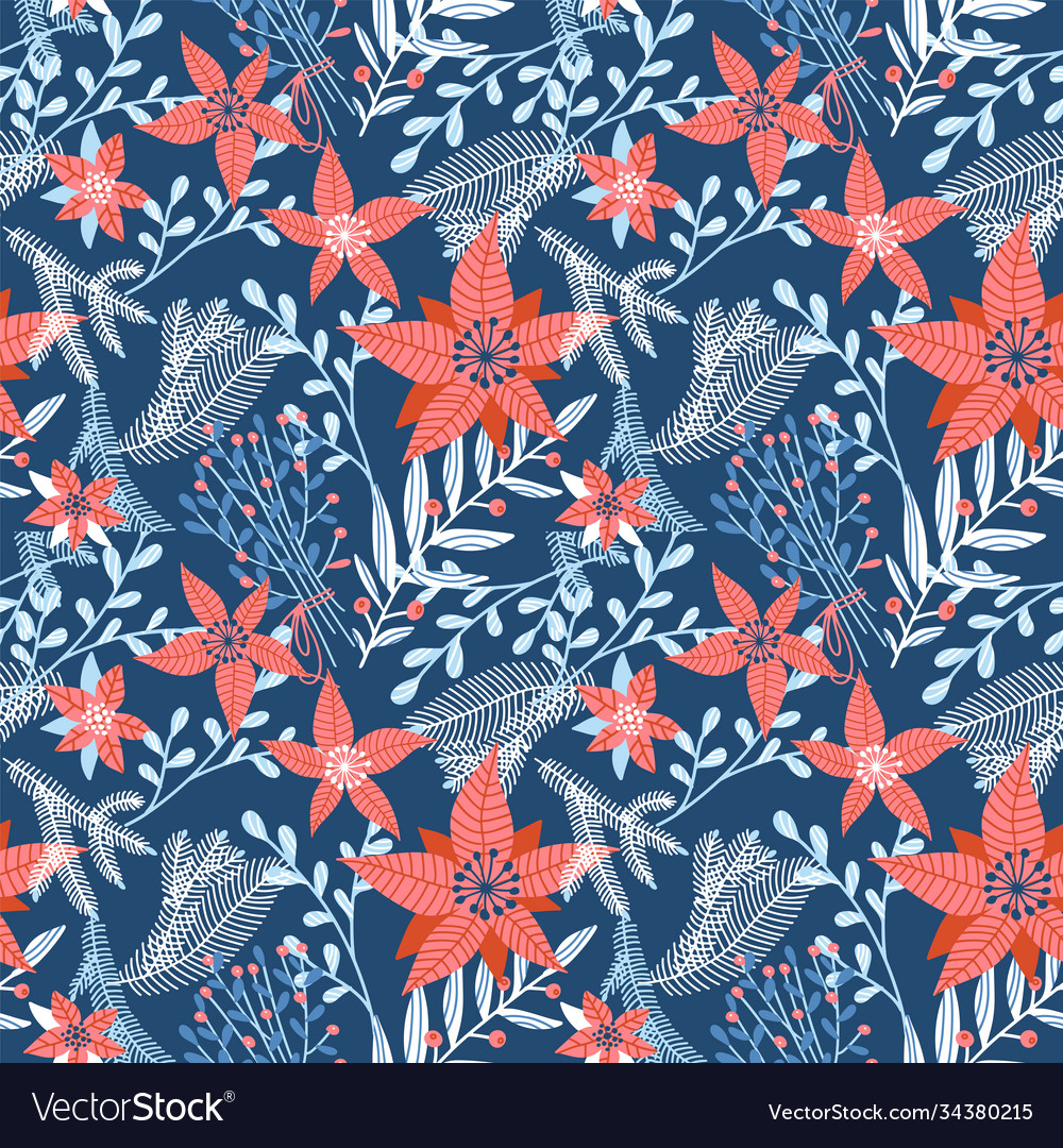 Floral seamless pattern with winter foliage