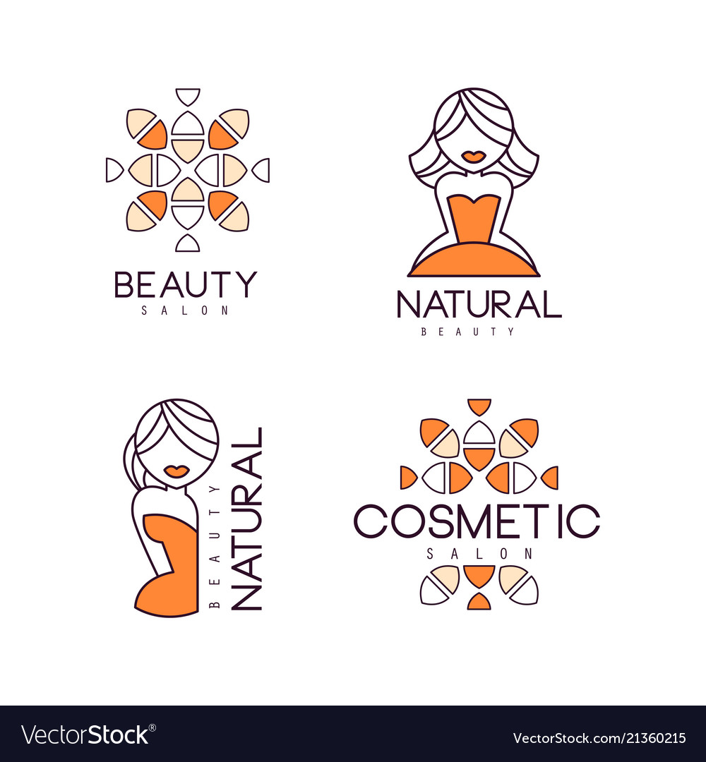 Geometric emblems for beauty salon or natural