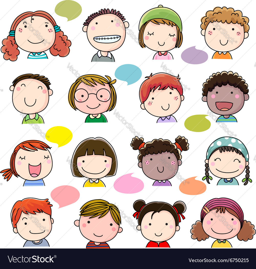 Hand drawn children faces set