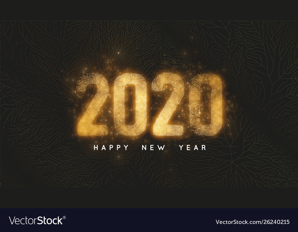 Happy new year 2020 dark background with gold net