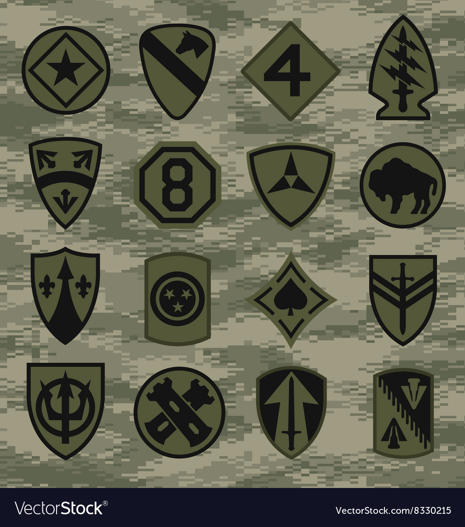 Military camouflage emblem patch set in green