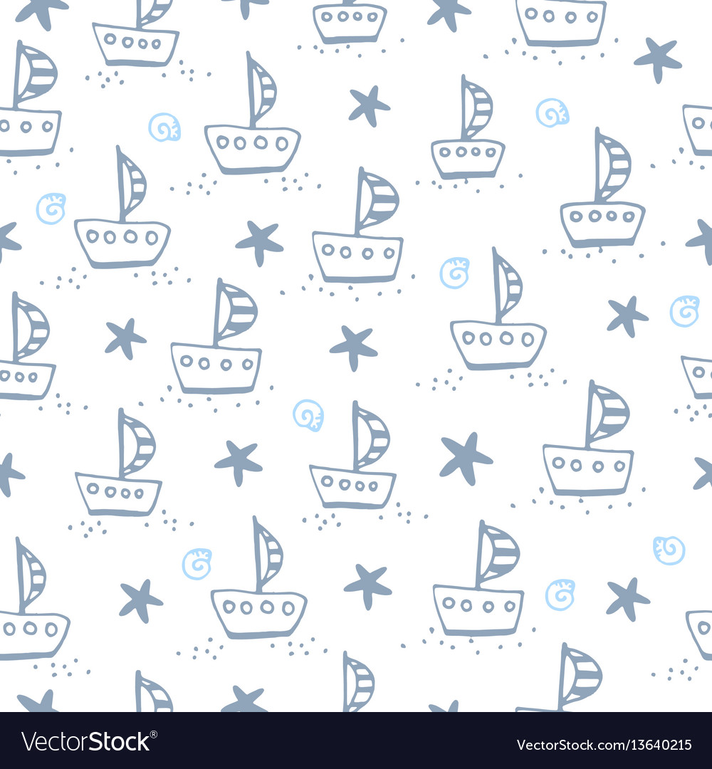 Seamless pattern with sailing boat