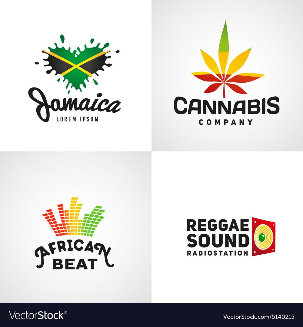 Set of african rasta beat logo designs vector image