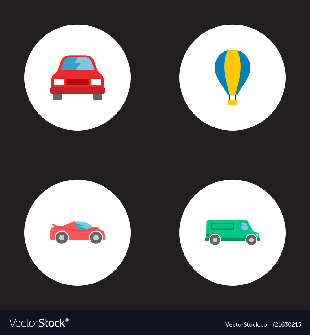 Set of transport icons flat style symbols with air