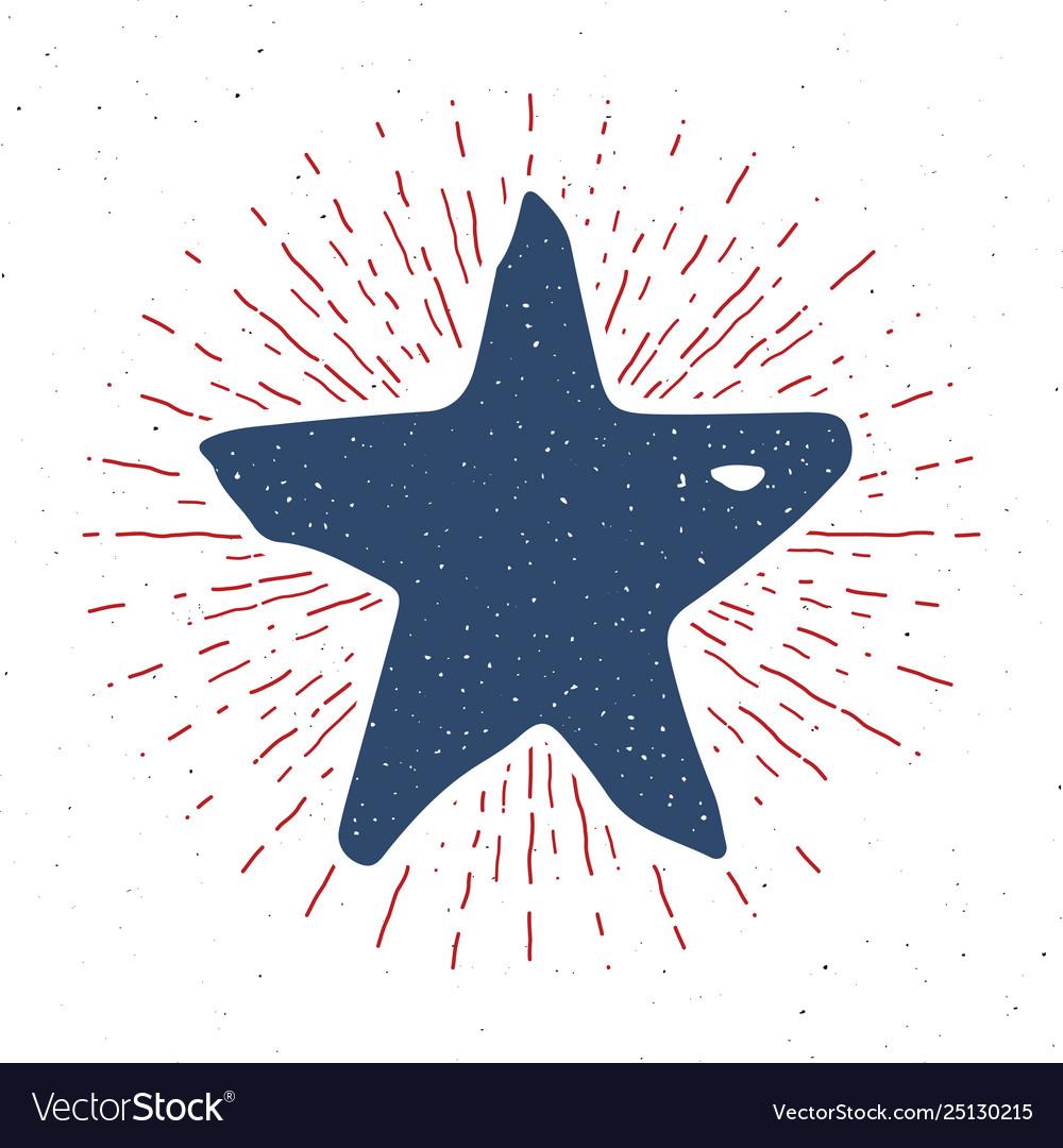 Star symbol vintage label grunge textured retro