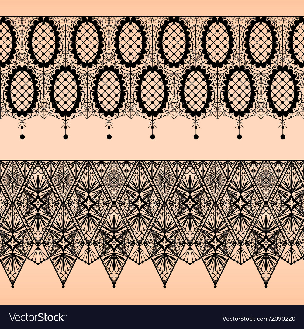Abstract seamless fabric black lace pattern
