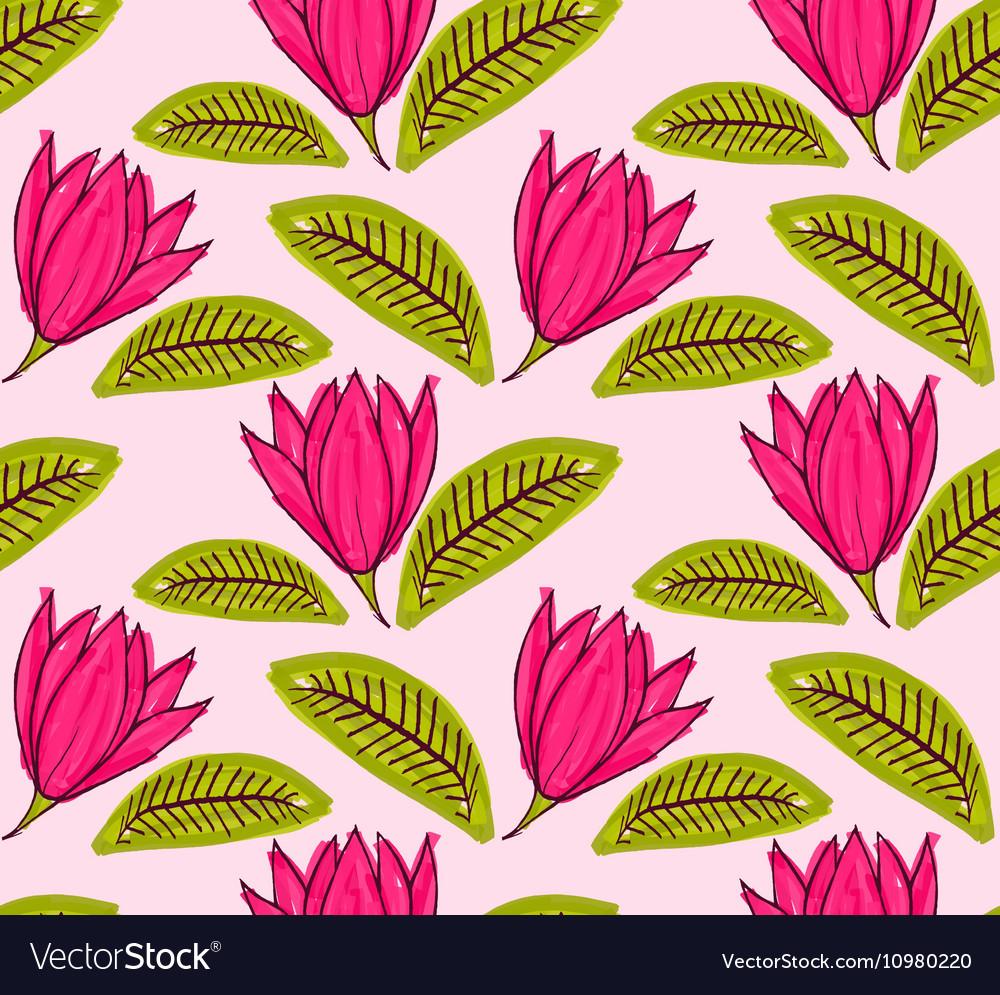 Big pink flower with green leaf