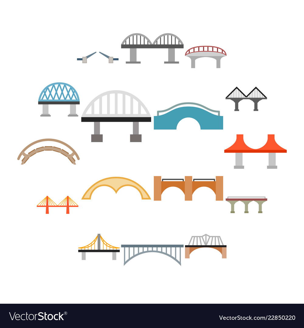 Bridge icons set flat style
