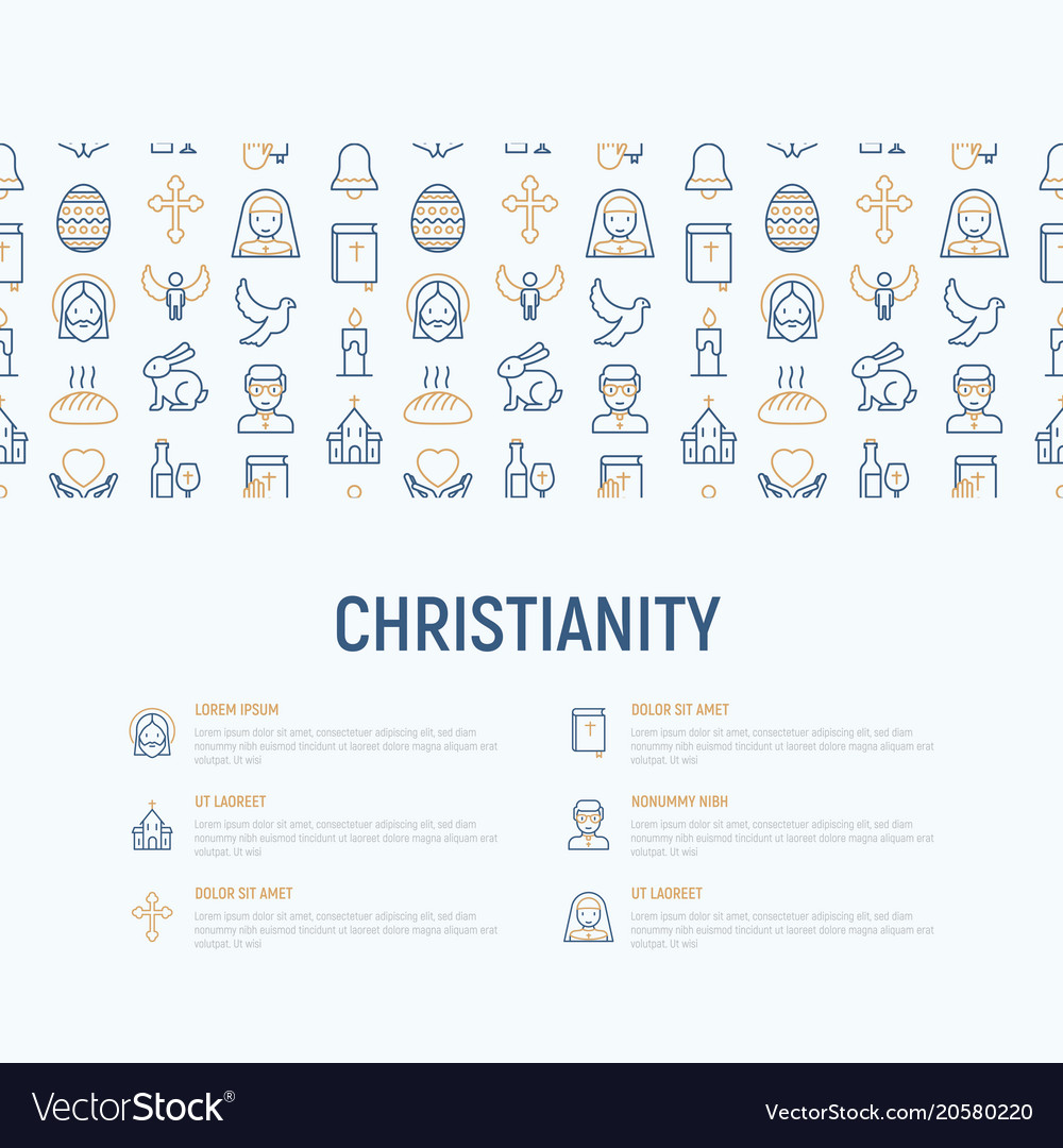 Christianity concept with thin line icons vector image