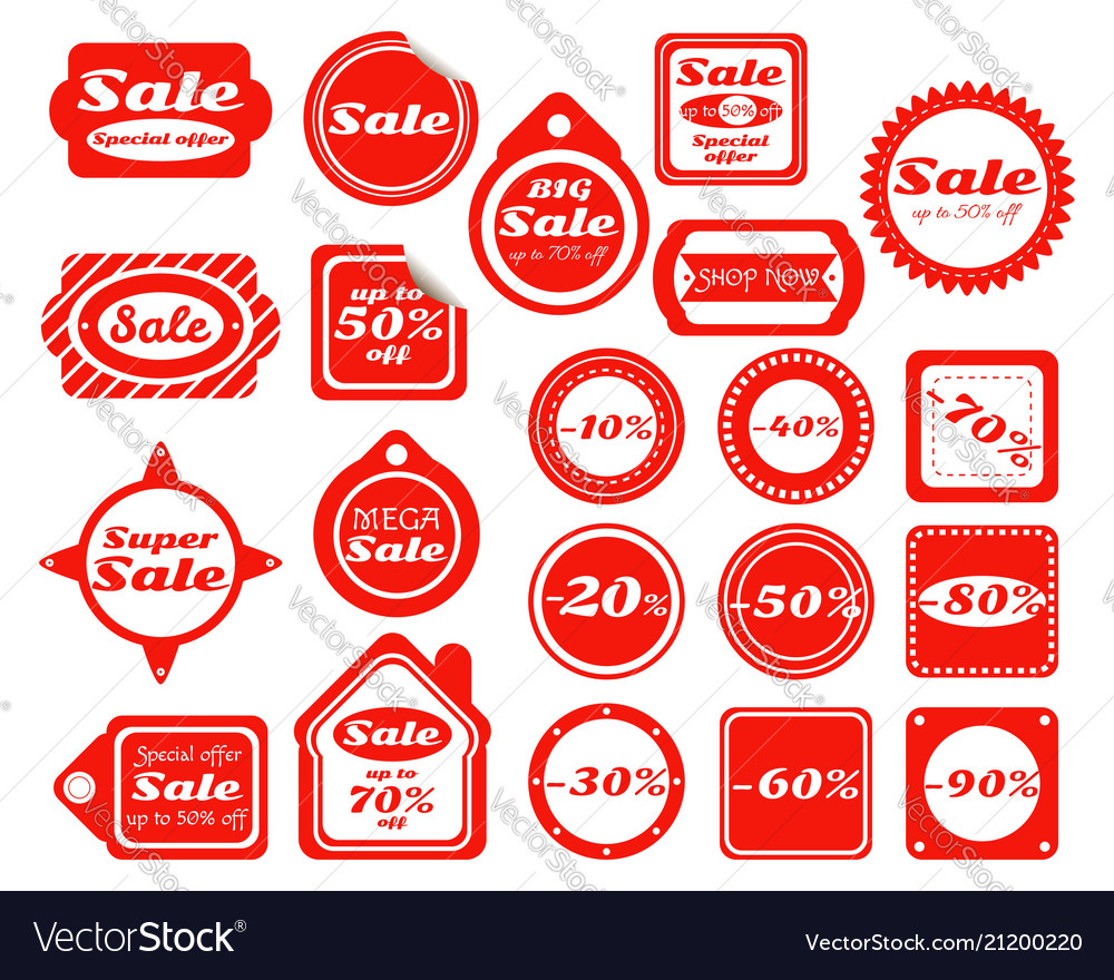 Collection of red sale stickers