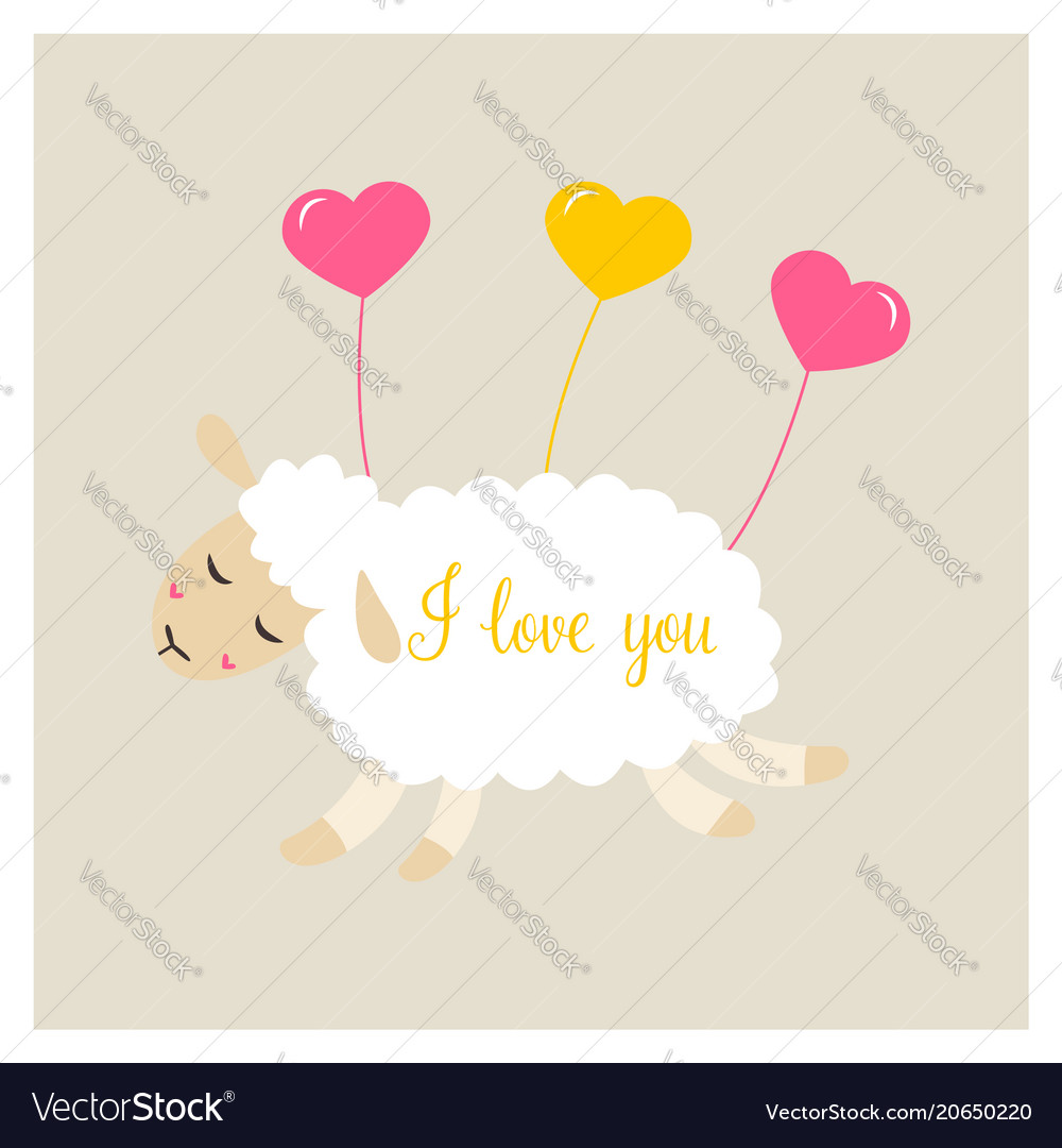 Cute sheep in love with heart balloon