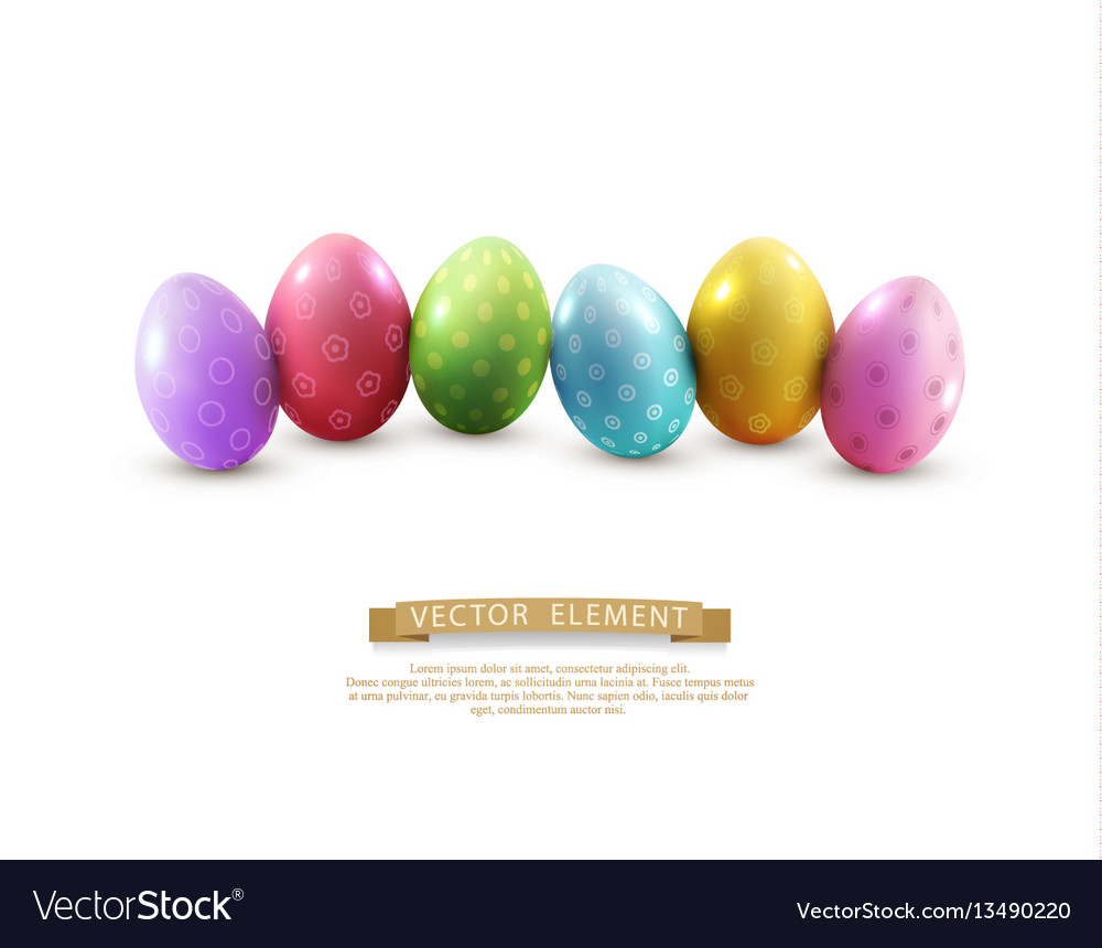 Easter eggs isolated on white background element vector image