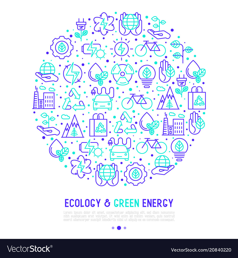 Ecology and green energy concept in circle