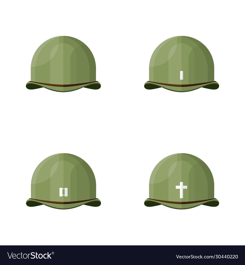 Flat vintage world war ii army helmet graph