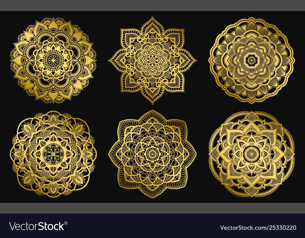 Golden mandalas design ethnic round gradient