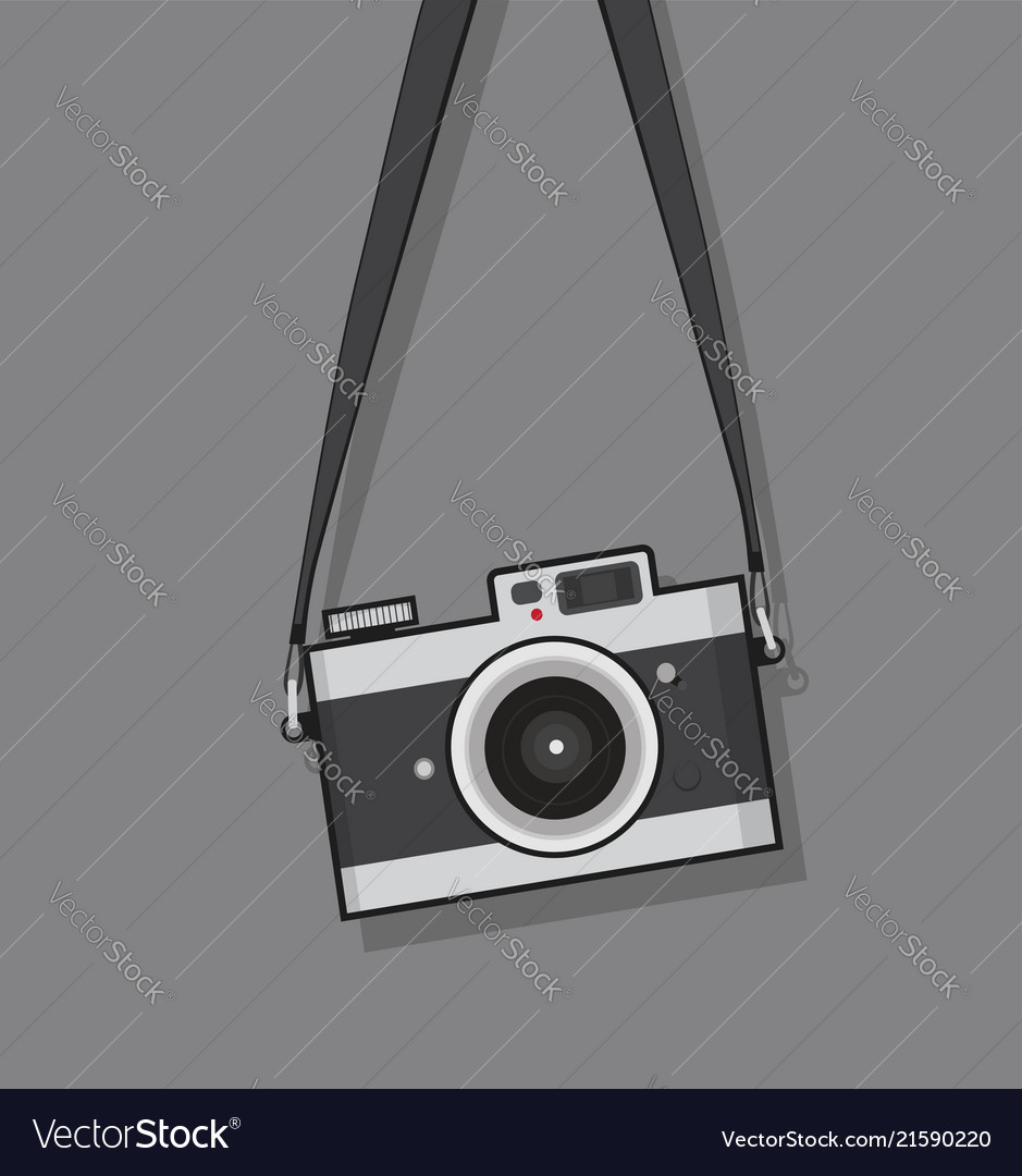 Hanging vintage camera flat style design