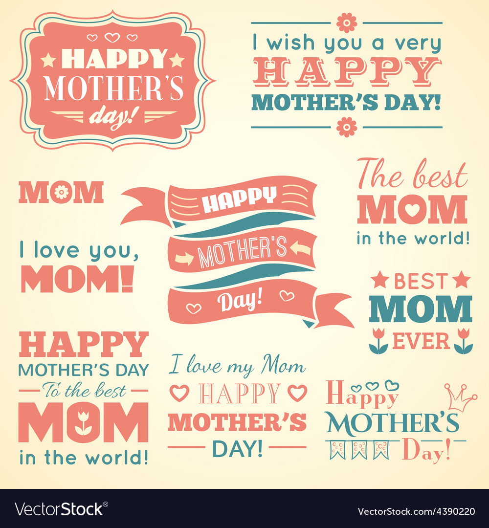 Happy Mothers day Set of cute elements
