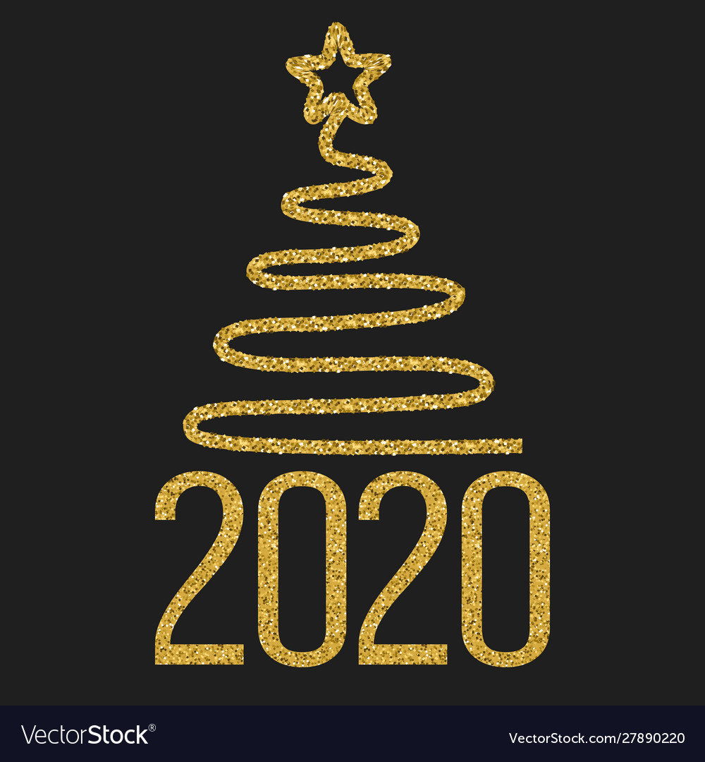 Happy new 2020 year festive design with gold