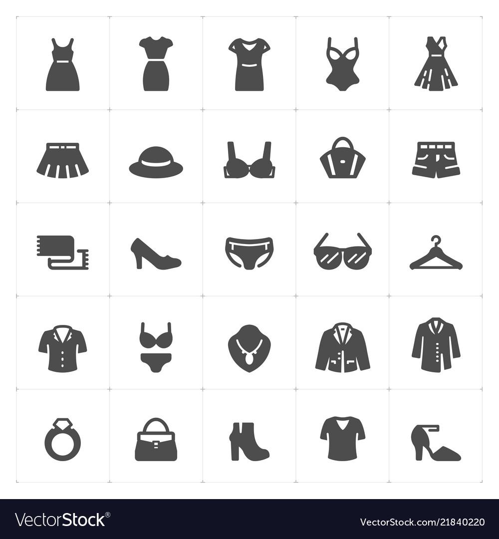 Icon set - clothing woman filled icon style