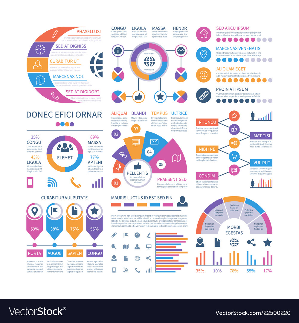 Infographic template financial investment graphs vector