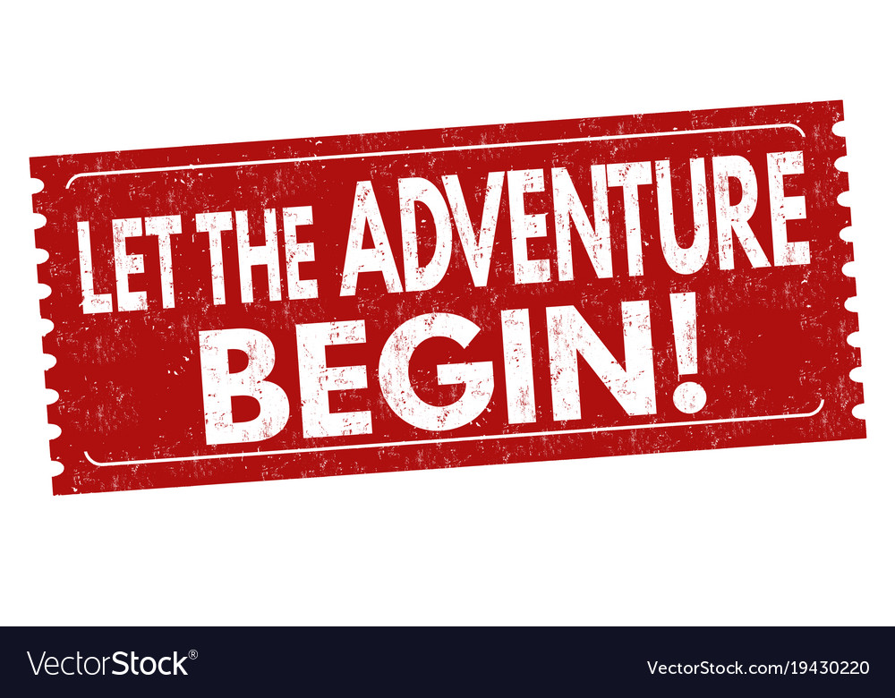 Let the adventure begin grunge rubber stamp
