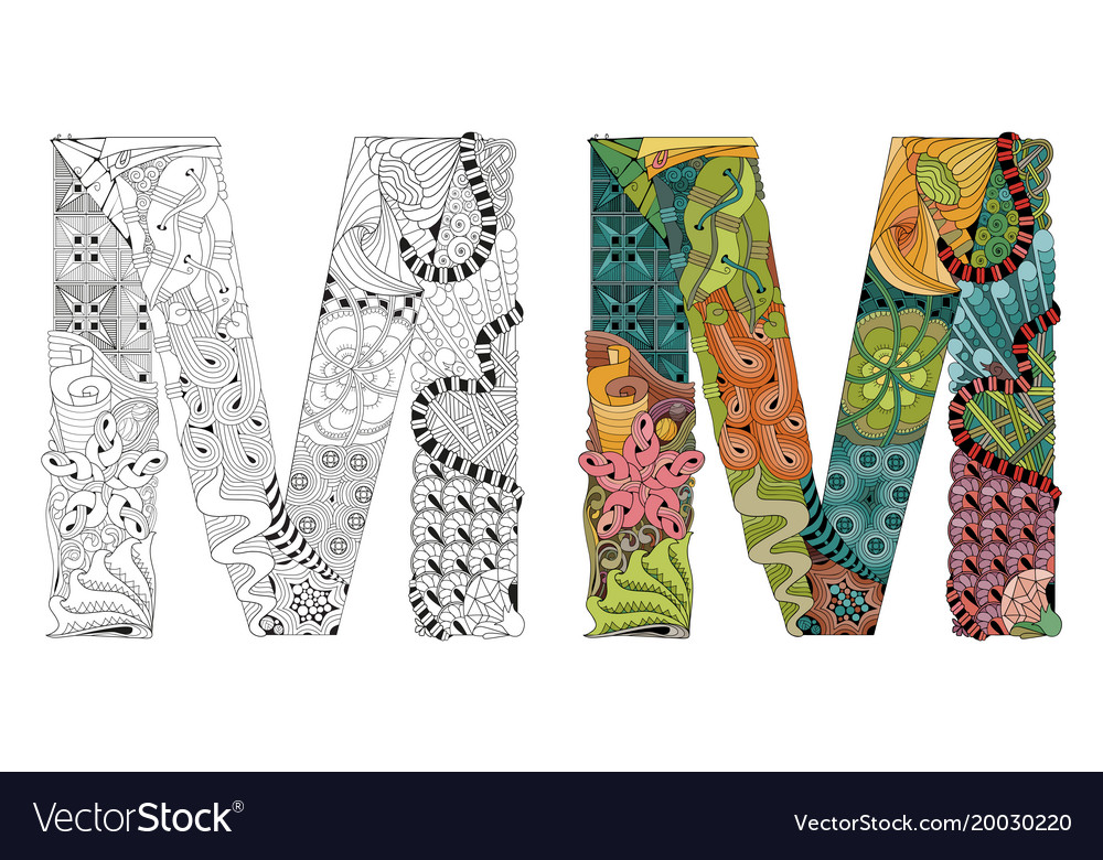 letter m zentangle for coloring decorative vector image