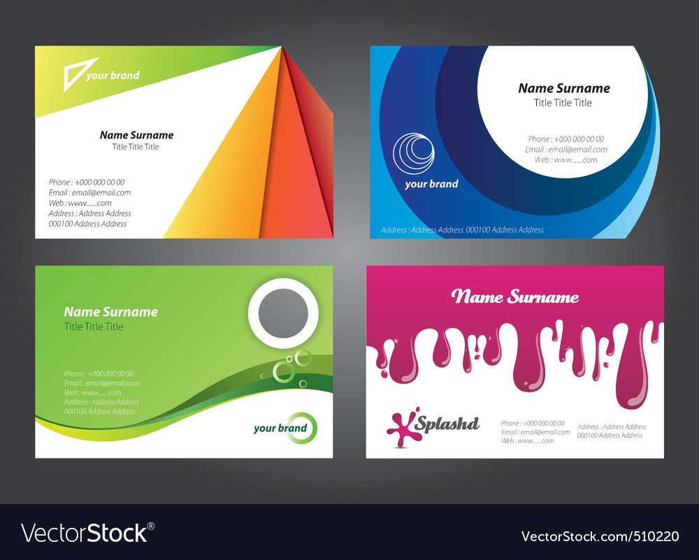 Modern colorful business card designs vector image