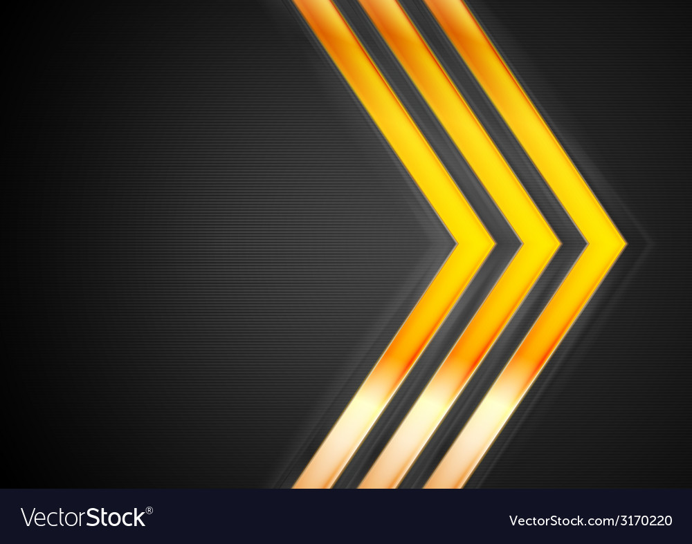 Orange glowing arrows on black background vector image